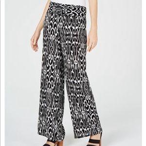 INC Printed Crinkle Gauze Wide Leg Pants NWT